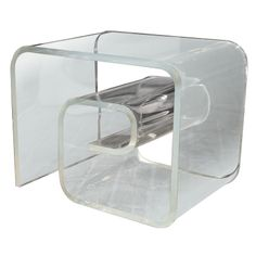 Greek Key Lucite NIGHT STAND Side Table | From a unique collection of antique and modern end tables at http://www.1stdibs.com/furniture/tables/end-tables/