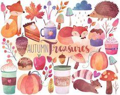 Autumn Watercolor Clipart - Autumn Woodland, Fall Treats, Forest Design Elements Digital Clipart