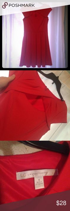 Cross top Lauren Conrad cap sleeve dress Perfect condition dress. Cross top style across chest with cap sleeves. Beautiful dress for night out. Reddish orange in color. LC Lauren Conrad Dresses Mini
