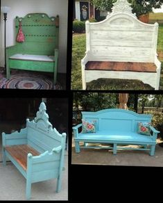 Custom Bench, Hall Bench, Headboard Bench, Unique Bench Porch Bench , Bed Bench By Foo Foo La La Refurbished Furniture, Repurposed Furniture, Furniture Makeover, Painted Furniture, Diy Furniture Repurpose, Bed Frame Bench, Headboard Benches, Furniture Projects, Design Furniture