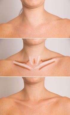 Intensify Your Collarbone: Shrug your shoulders, trace the natural contours with a concealer two shades darker than your skin tone, and then highlight them with concealer two shades lighter. Draw the lighter shade on the areas that protrude outward. Then, use the darker shade to fill in the sections that fall in the shadows. Use a damp blending sponge or a stippling brush to blend the shades together, eliminating any harsh lines.