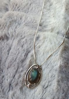 Beautiful Sterling silver Pendant with Genuine Labradorite Oval Gemstone on Sterling Silver Chain by MadiGDesigns on Etsy Sterling Silver Chains, Sterling Silver Pendants, Labradorite, Buy And Sell, Pendant Necklace, Gemstones, Handmade, Stuff To Buy, Etsy