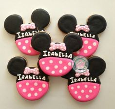 Minnie Mouse Birthday~                    By SugarySweetCookies.  Cookie set.Sweet Cookies are perfect for the Minnie Lovers Birthday!Cookies are handmade and decorated just for you! Never pre made.Set includes 6 of each design shown. Choose up to 2 different color combinations.Each measures approximate 3 inches high.Cookies come individually wrapped and sealed for max protection and freshness. Pink, black, pink bow, polka dot, mouse ears