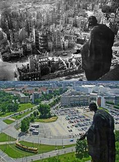 Dresden on 13 February 1945; and contemporary Dresden. -Wehrmacht History -