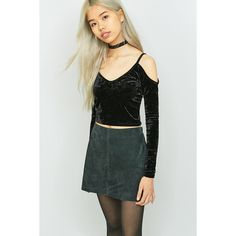 Cooperative by Urban Outfitters Urban Outfitters Cold Shoulder Velvet... (£26) ❤ liked on Polyvore featuring tops, black, long sleeve crop top, butterfly top, open shoulder long sleeve top, velvet crop top and cold shoulder tops