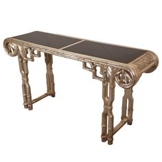 Silver Leafed Bamboo Console by James Mont