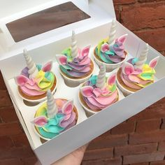 Rainbow unicorn cupcakes off to cheer a lucky lady up on this dreary Saturday mo… Rainbow unicorn cupcakes off to cheer a lucky lady up on this dreary Saturday mo…,Toy story birthday Rainbow unicorn. Rainbow Unicorn Party, Unicorn Birthday Parties, 4th Birthday, 1st Birthday Cupcakes, Birthday Ideas, Mini Cakes, Cupcake Cakes, Rainbow Cupcakes, Cheer Cupcakes
