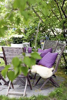 Texture and color in an outdoor space Outdoor Spaces, Outdoor Chairs, Outdoor Living, Outdoor Furniture Sets, Outdoor Decor, Deck Furniture, Outdoor Cushions, Porches, Garden Nook