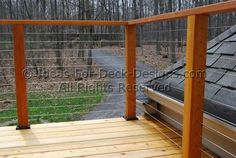 Cable Deck Railing Design See plenty Deck Railing Ideas http://awoodrailing.com/2014/11/16/100s-of-deck-railing-ideas-designs/