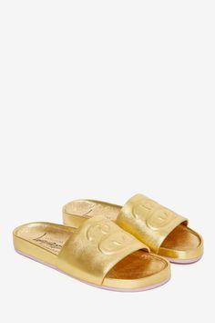 golden slide sandals