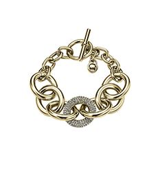 Exclusively Ours.  An enchanting twist on iconic accessorizing, our chain-link bracelet is a true top-tier extra. Delicate details like pavé embellishment and a chic toggle closure make this piece a must-have extra for any elegant affair. Wrap it around your wrist as a solo statement or slip it on with simple stone accents for elevated élan.