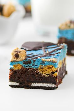 Cookie Monster Brownies are a great kid's birthday party dessert. They'll gobble them up!