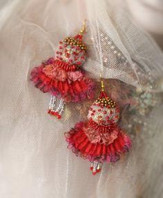 Pom+Pom++bold+fun+earrings+from+vintage+textiles+and+por+bonheur