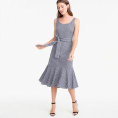 JCrew Gingham ruffle-hem dress
