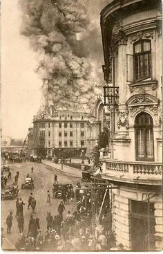 Bucharest in the late , a fire on street Victoria Brasov Romania, Bucharest Romania, Vintage Architecture, Beautiful Architecture, Old Pictures, Old Photos, Places Around The World, Around The Worlds, Classic House Design