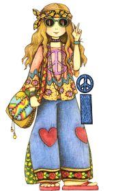 Alfabeto de chica hippy amor y paz.   Oh my Alfabetos!