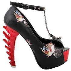 Gothic Shoes Skull Rose Bone Heel