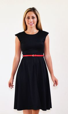 Every woman needs at least one black dress that is perfect for every occasion. This midi just below the knee length, sleeveless, O neck black dress is perfect in every way for any occasion work, play