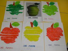 pommes ps - Recherche Google Fall Preschool Activities, Apple Activities, Red Pear, Apple Art, Apple Theme, Petite Section, Autumn Crafts, Fruit Art, Art For Kids