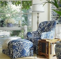 Blue and White chair and ottoman .love the blue and white fabric. Would like a long table like one in front of window. Blue Rooms, White Rooms, Style At Home, Chair And Ottoman, Blue Ottoman, White Armchair, White Decor, My Living Room, White Houses