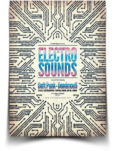 Electro Flyer / Poster by Blue Monkey Screenprint on perfboard a series of circuit patterns with a central Text Element for Ide_gram title ( _ = overlapping a & e Electro Music, Music Illustration, Graphic Design Illustration, Book Design, Cover Design, Pixel Sorting, Dragons Online, Music Artwork, Social Media Design