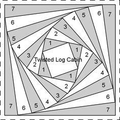 Afbeeldingsresultaat voor twisted log cabin quilt pattern