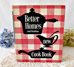 Vintage 1950s Better Homes & Gardens New Cook Book, First Edition, Vintage Recipes, Red Plaid Ring Binder, Mid Century Cookbook Wedding Gift