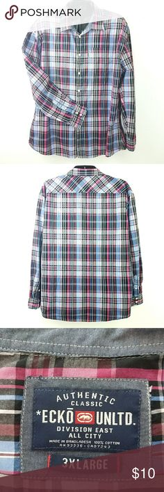 Nice & Big Plaid Shirt chest 26 shoulder 24 neck 20 sleeve 26 length 33 mid-weight crisp cotton fabric machine wash excellent condition  2017283 Ecko Shirts Casual Button Down Shirts