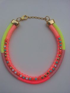 Neon Statement Necklace - Rope Necklace - Yellow Neon and Pink Neon Necklace…