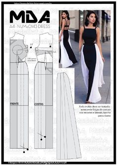 Elegant Black and White Maxi Dress Sewing Pattern