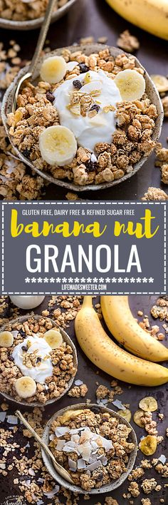 Banana Nut Granola makes the perfect healthy breakfast or snack. Best of all, it's gluten-free, refined sugar free, dairy free and comes together easily in just one bowl and less than 10 minutes of prep time! Full of crunchy clusters, pecans and tropical coconut.