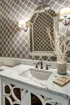 Impress guests with an exquisite powder bath.