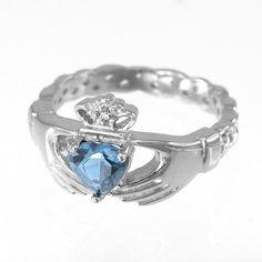 Silver Claddagh Ring Aquamarine CZ Birthstone Ring by KarmaBlingz