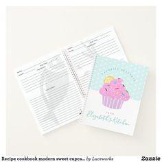 Recipe cookbook modern sweet cupcake hearts, aqua notebook
