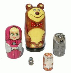 Russian Fairy Tale Masha and Bear Wood Matryoshka di handycrafts, $15,95