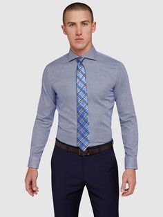 TRAFALGAR DOBBY SHIRT   BLUE DARK - Oxford Shop Mens Trousers Casual, Trouser Suits, Oxford Online, Polo Tees, Slim Man, Workout Shirts, Mens Suits, Work Wear, Suit Jacket