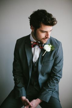 plaid bow tie // photo by Angela & Evan Photography