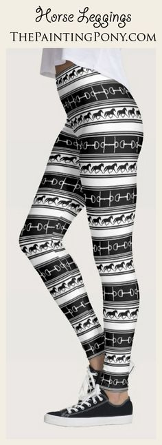 Leggings for the equestrian - cute horse lover legging pants with patterns that are stylish and fun for the horse and pony lover. Fashion and clothing perfect for anyone who enjoys the sport of horseback riding from the hunter jumper to dressage rider.