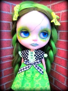 Electric Green Skull Damask Dress with Polka Dots for Blythe or Dal