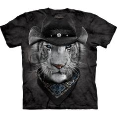 Tricouri The Mountain – Tricou Cowboy White Tiger Pug Shirt, Tiger T Shirt, Animal Graphic, Black Cowboys, Big Face, 3d T Shirts, Pet Clothes, Zoo Animals, Cotton Tee