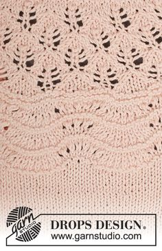 Apricot Cream / DROPS - Knitted jumper with lace pattern, wave pattern and round yoke in DROPS Muskat. Size: S - XXXL. Knitting Stiches, Knitting Books, Knitting Patterns Free, Free Knitting, Stitch Patterns, Crochet Patterns, Drops Design, Crochet Diagram, Free Crochet