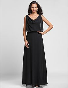 Fall 2013 Black Evening Dress, Sheath/Column Cowl Floor-length - ILS ₪ 300.95