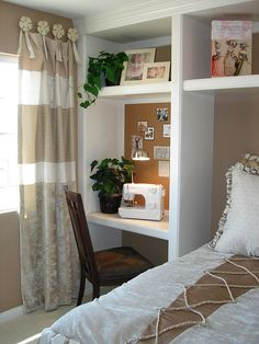 Built ins with a day bed + trundle instead of a full size bed, so it won't take up all the space...