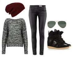 Fall outfits with Isabel Marant sneaker wedges