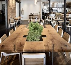 Tables by Project Sunday at Campos Coffee Roastery & Kitchen, Salt Lake City - Campos Communal Table Communal Kitchen, Communal Table, Dining Table, Wood Slab Table, Planter Table, Break Room, Office Interiors, Restaurant, Lake City