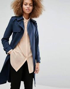 Warehouse Clean Belted Trench - Navy
