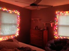 White Strand, Rainbow Lights In Bedroom! Love Christmas Time!