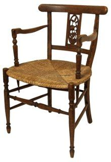 Antique French Rush-Seat Farm Chair