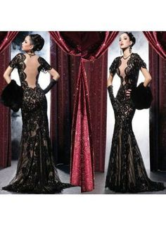 New Arrival Sexy Deep V-Neck Arabic Evening Dresses With Short Sleeves And Open Back Mermaid Applique Lace Black Custom