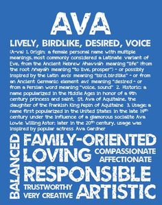 AVA Personalized Name Print / Typography Print / by OhBabyNames